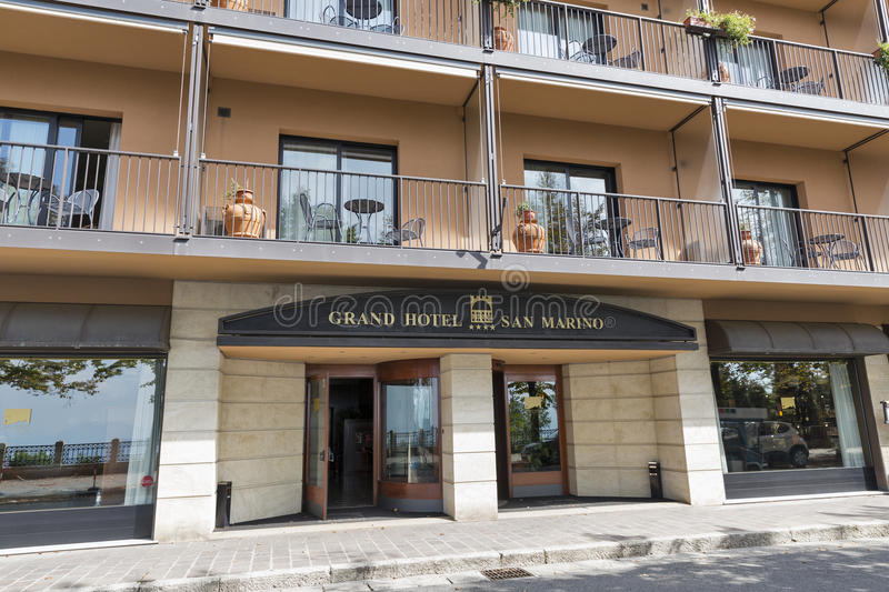 Grand Hotel facade in San Marino. Grand Hotel San Marino in city center. Republic of San Marino is a small country in the Apennines, the third smallest country stock photos