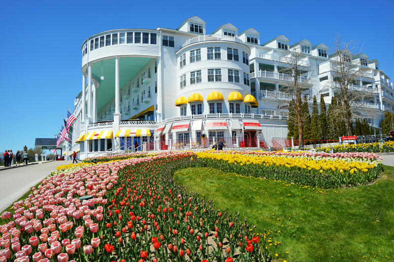The Grand Hotel. The historical Grand Hotel on Mackinac Island, Michigan. It was constructed in the late 19th century, and has the world's largest porch. It is stock images