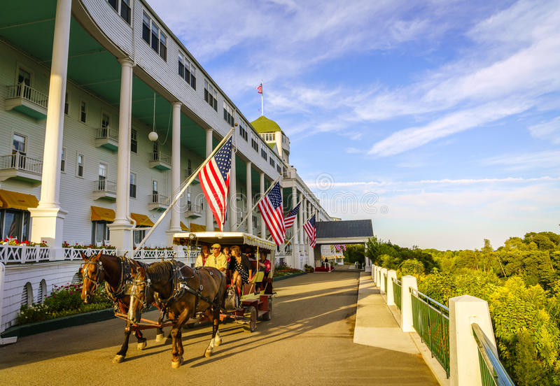 Grand Hotel. Mackinac Island, Michigan, August 8, 2016: Grand Hotel on Mackinac Island, Michigan. The hotel was built in 1887 and designated as a State royalty free stock images
