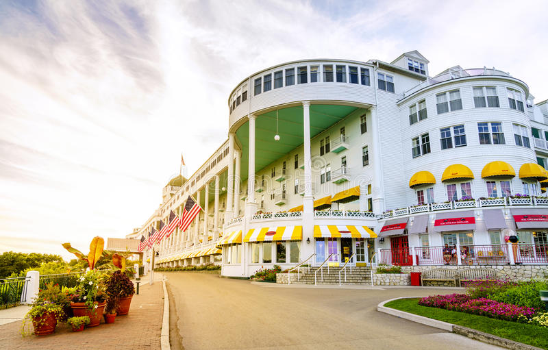Grand Hotel. Mackinac Island, Michigan, August 8, 2016: Grand Hotel on Mackinac Island, Michigan. The hotel was built in 1887 and designated as a State royalty free stock photography