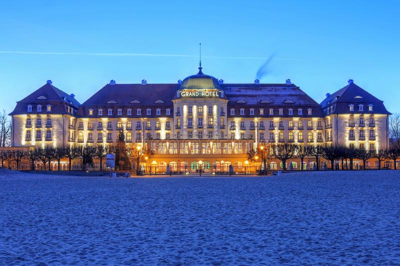 Grand Hotel Sopot, Poland. Night scene of the historic Grand Hotel Sopot, on the Baltic Sea close to Gdansk city in Poland royalty free stock image
