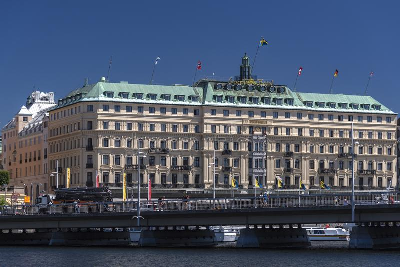 Grand Hotel Stockholm. Stockholm, the capital of Sweden, encompasses 14 islands and more than 50 bridges on an extensive Baltic Sea archipelago. The stock images