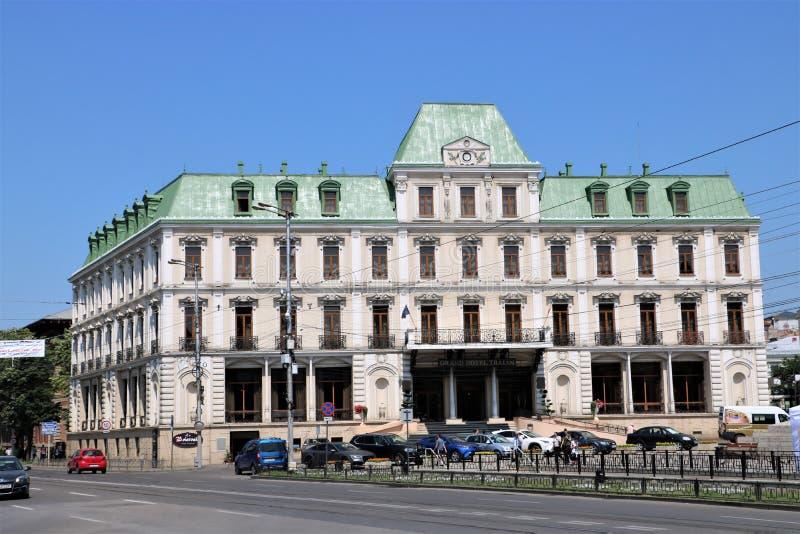 Grand Hotel Traian i Iasi Rumänien arkivbilder