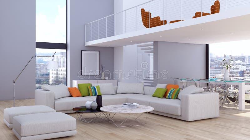 Grand illus lumineux moderne de luxe de salon d'appartement d'intérieurs images stock