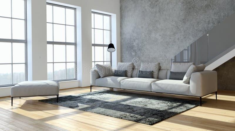 Grand illus lumineux moderne de luxe de salon d'appartement d'intérieurs photographie stock libre de droits