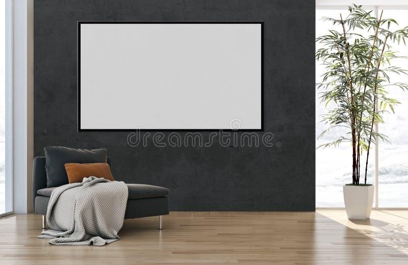 Grand illus lumineux moderne de luxe de salon d'appartement d'intérieurs photos stock