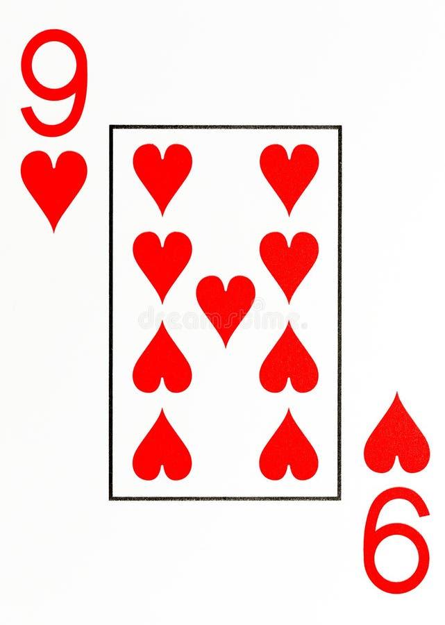 Grand index jouant la carte 9 des coeurs illustration stock
