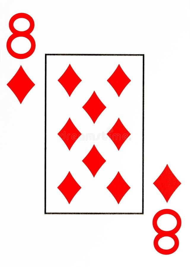 Grand index jouant la carte 8 des diamants illustration libre de droits