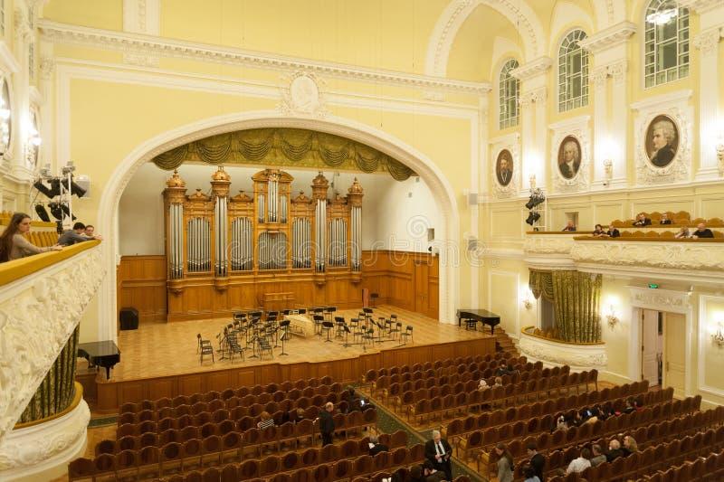 Grand intérieur de salle de concert au conservatoire de Moscou photographie stock libre de droits