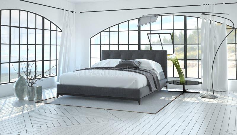 Grand intérieur lumineux spacieux de chambre à coucher image stock