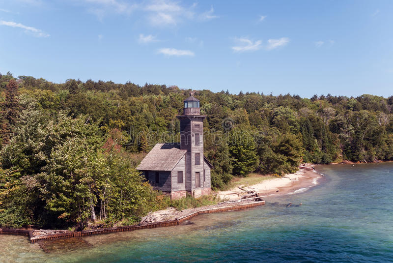 The Grand Island East Channel Light, Superior, Michigan, USA royalty free stock photo