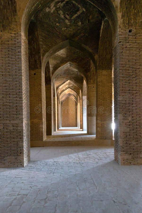 Grand Jameh mosque interior in Isfahan.Iran royalty free stock photo