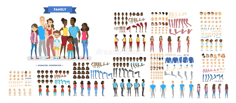 Grand jeu de caractères de famille pour l'animation illustration stock