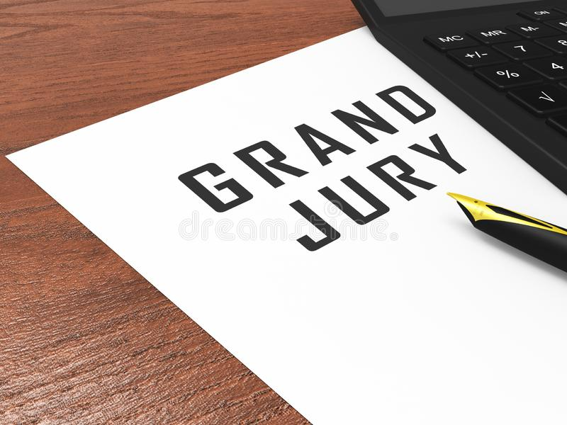 Grand Jury Court Document Shows Government Trials To Investigate Injustice 3d Illustration. Courtroom Inquiry And Legal Litigation stock illustration