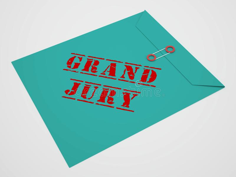 Grand Jury Court Envelope Shows Government Trials To Investigate Injustice 3d Illustration. Courtroom Inquiry And Legal Litigation stock illustration