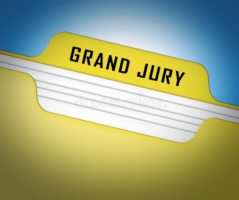 Grand Jury Court Folder Shows Government Trials To Investigate Injustice 3d Illustration. Courtroom Inquiry And Legal Litigation vector illustration