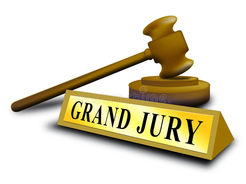 Grand Jury Court Gavel Shows Government Trials To Investigate Injustice 3d Illustration. Courtroom Inquiry And Legal Litigation vector illustration