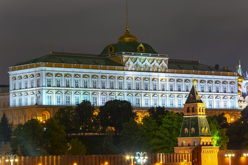 Grand Kremlin palace of Moscow Kremlin at night, Russia royalty free stock images