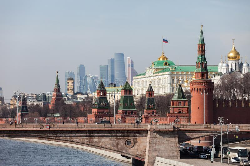 Grand Kremlin Palace Walls and Towers and modern Moscow International Business Center MIBC skyscrapers at Russia Moscow City stock image