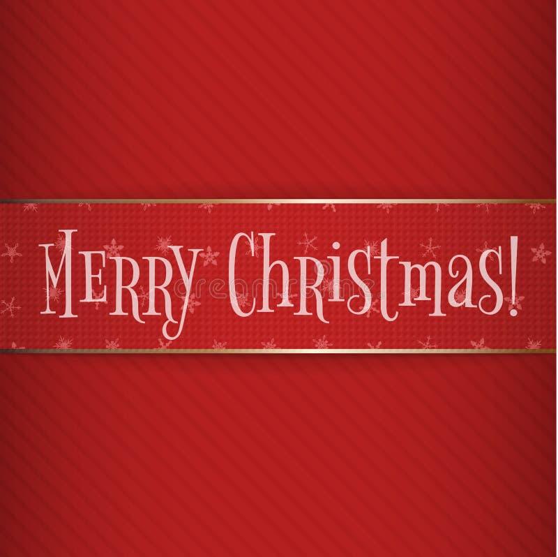 Grand label rouge de Noël d'or sur le fond rayé illustration libre de droits