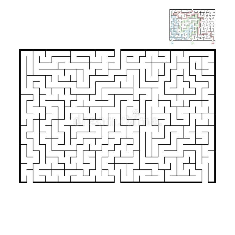 Grand labyrinthe rectangulaire abstrait Jeu pour des enfants et des adultes Puzzle pour des enfants Trouvez la bonne sortie Énigm illustration libre de droits