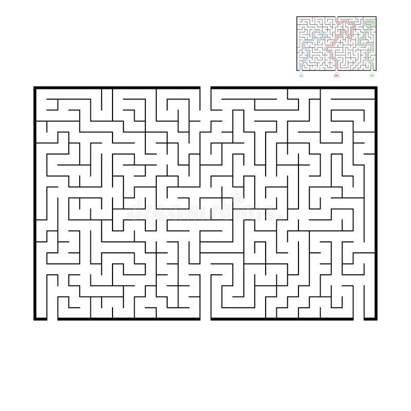 Grand labyrinthe rectangulaire abstrait Jeu pour des enfants et des adultes Puzzle pour des enfants Trouvez la bonne sortie Énigm illustration de vecteur