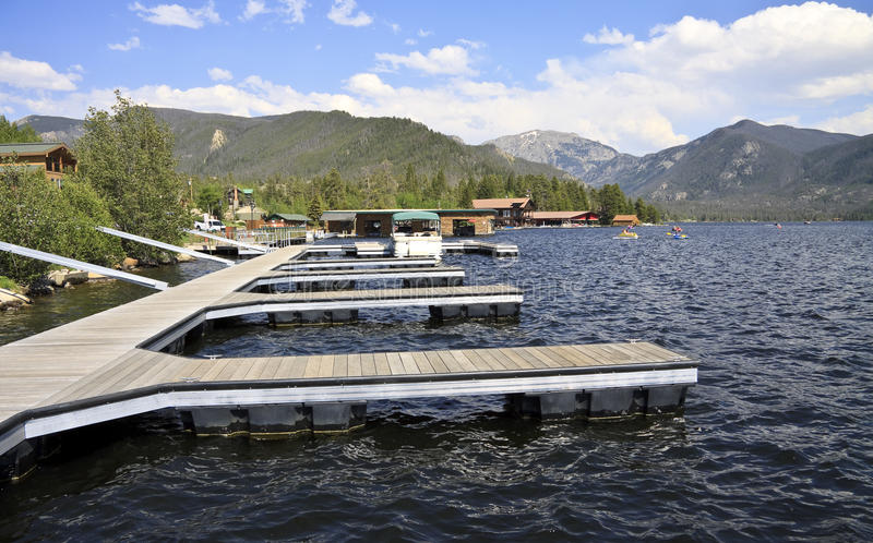 Grand Lake Colorado. Jetties at Grand Lake, a small American town tourist destination in the Rocky Mountains, Colorado, United States stock images