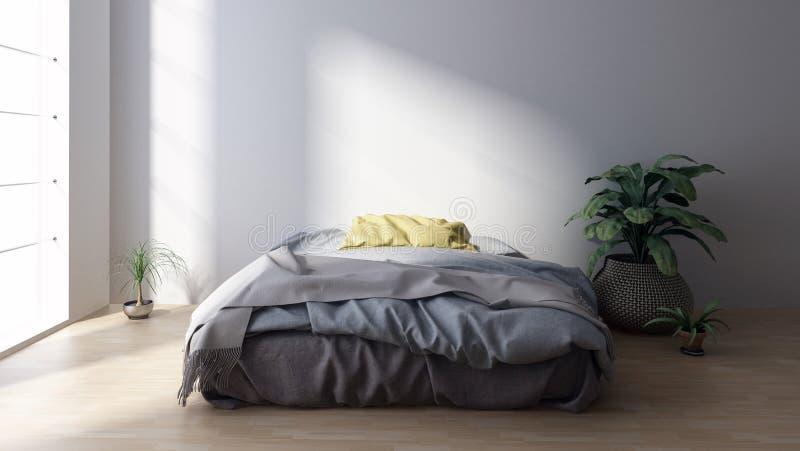 Grand lit avec la literie dans la chambre à coucher minimaliste illustration stock