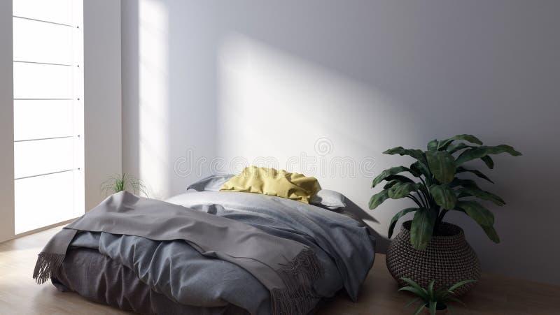 Grand lit dans la chambre à coucher lumineuse avec la plante d'intérieur illustration stock