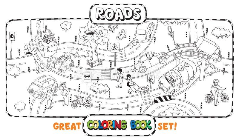 Grand livre de coloriage de route illustration de vecteur