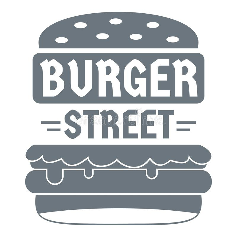 Grand logo d'hamburger de rue, style gris simple illustration libre de droits