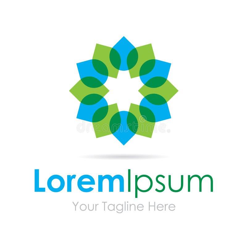 Grand logo simple d'icône d'affaires de cercle vert et bleu de feuille illustration de vecteur