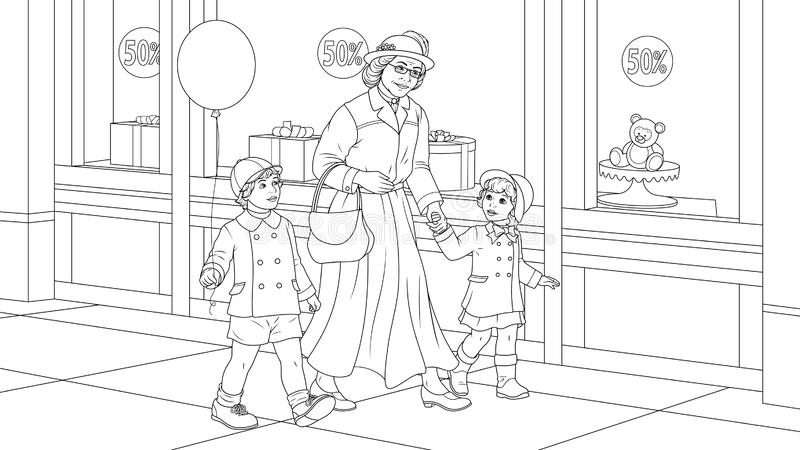 Grand-mère avec des petits-enfants pour une promenade photographie stock libre de droits