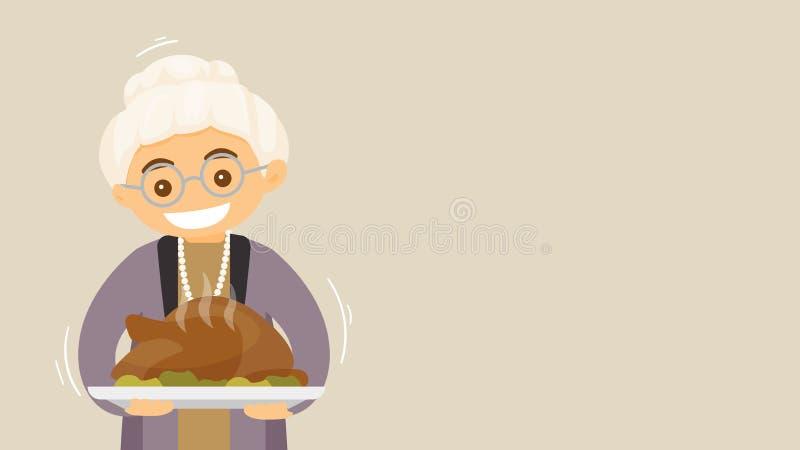 Grand-mère avec la carte de vacances de dinde, bannière illustration stock