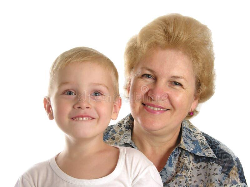 Grand-mère avec le fils photo stock
