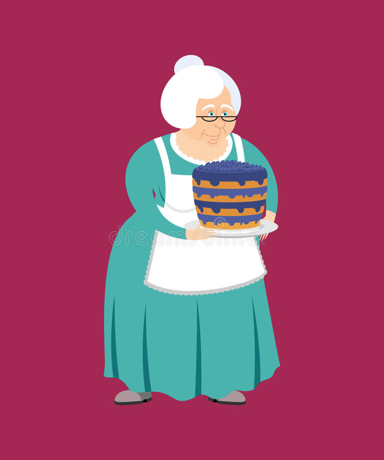 Grand-mère avec le tarte gâteau de grand-maman et de myrtille Femme âgée illustration libre de droits