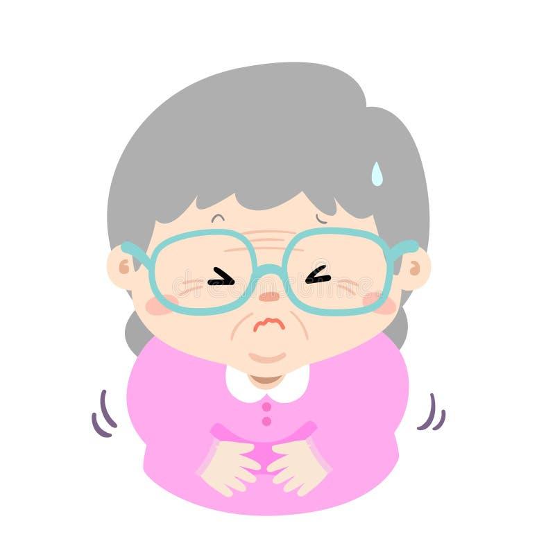 Grand-mère ayant la bande dessinée de mal d'estomac illustration stock