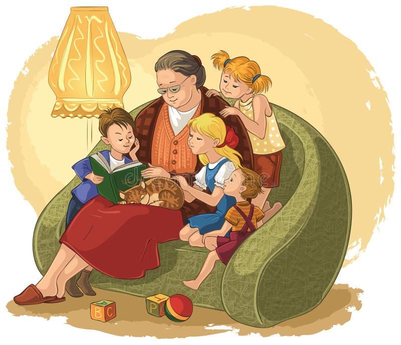 Grand-mère contes de fées de lecture d'un livre pour vos petits-enfants illustration stock