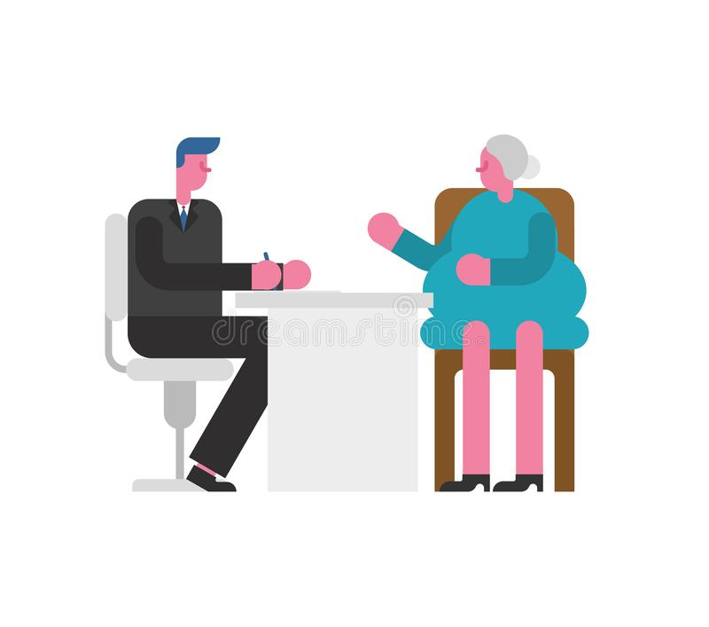 Grand-mère d'entrevue d'emploi Vieille dame de patron et d'employés Business illustration de vecteur