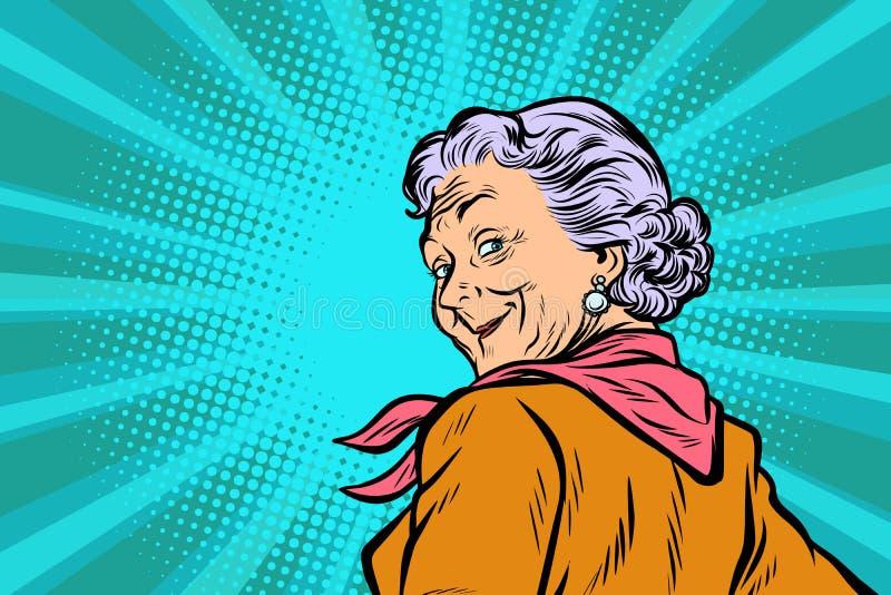 Grand-mère d'une chevelure grise un bon regard illustration stock