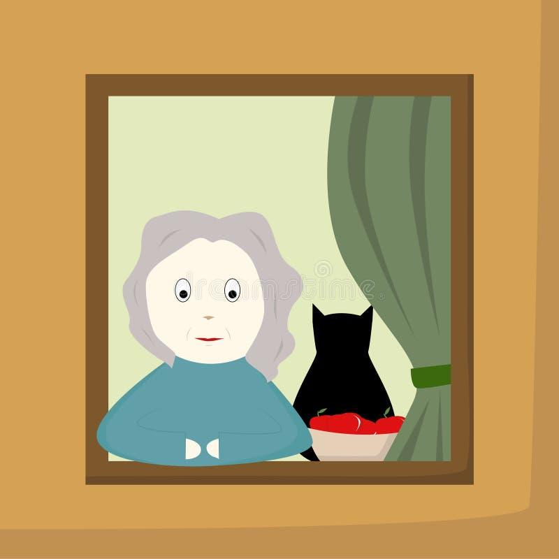 Grand-mère dans une fenêtre illustration libre de droits