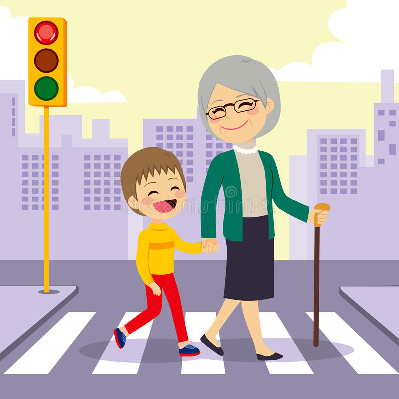 Grand-mère de aide de garçon crosswalking illustration stock