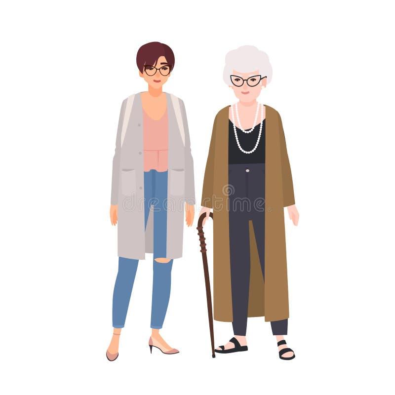 Grand-mère drôle et petite-fille se tenant et parlant Vieille dame heureuse et jeune adolescente ayant l'amusement ensemble illustration stock