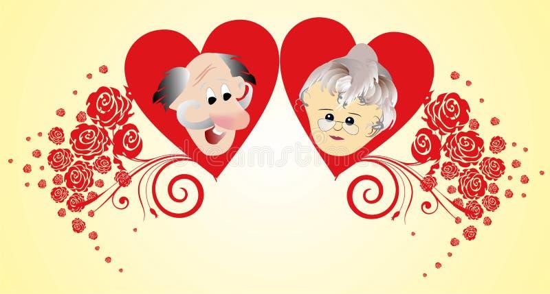 Grand-mère et grand-père de jour illustration de vecteur
