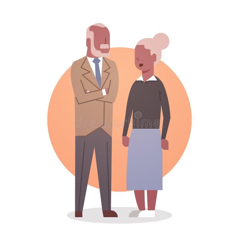 Grand-mère et Grandfathr Gray Hair Icon Full Length de couples d'Afro-américain d'homme supérieur et de femme illustration stock