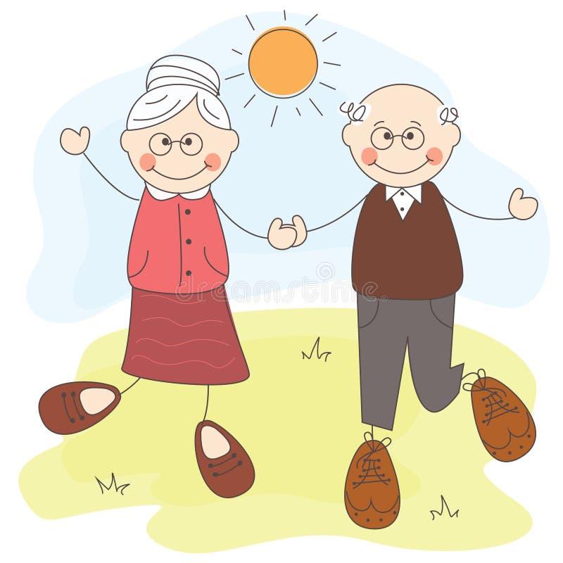 Grand-mère et père heureux illustration libre de droits