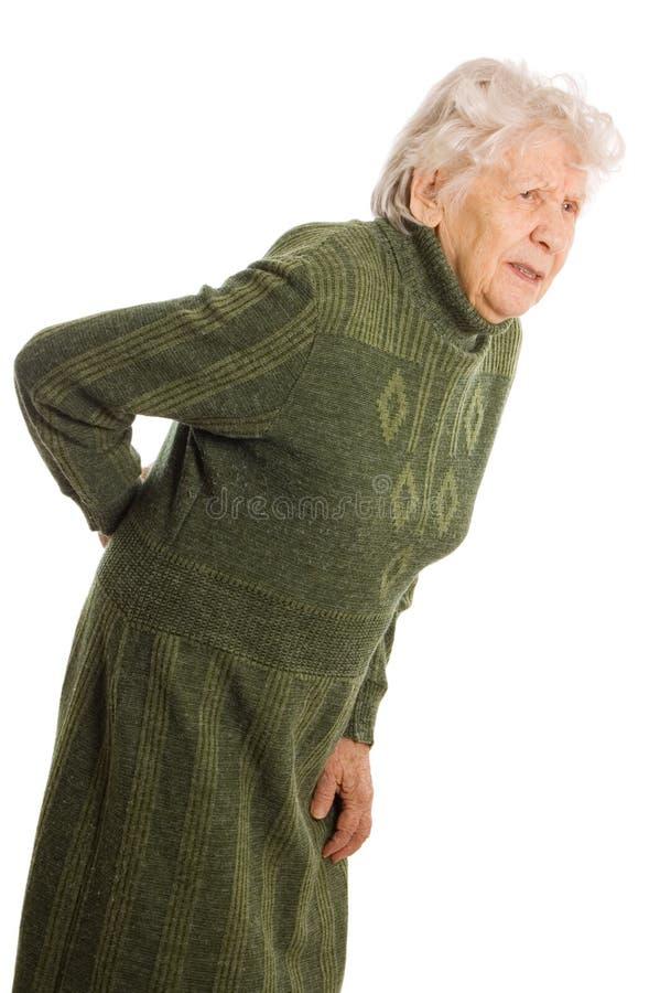 Grand-mère retenant une canne photo stock