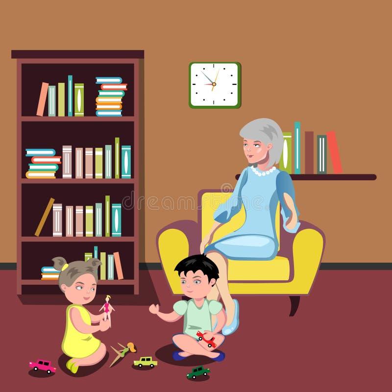 Grand-mère s'asseyant dans la chaise avec des enfants illustration de vecteur