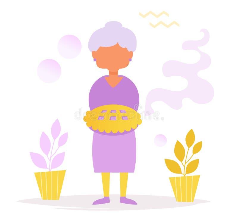 Grand-maman avec le gâteau Silhouette illustration stock