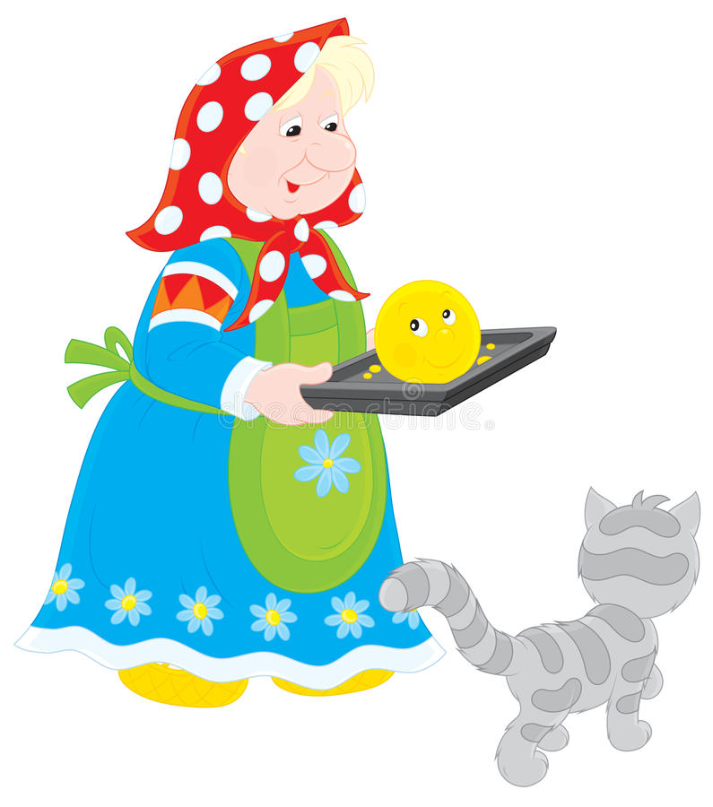 Grand-maman avec Roly-Poly cuit au four illustration libre de droits